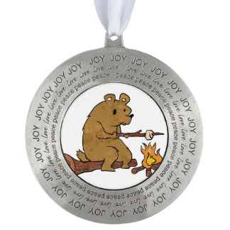 bear roasting marshmallows round pewter ornament