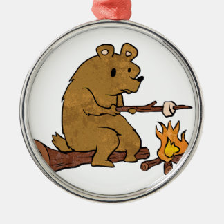 bear roasting marshmallows Silver-Colored round ornament