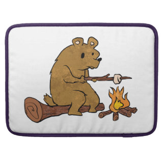 bear roasting marshmallows sleeve for MacBooks