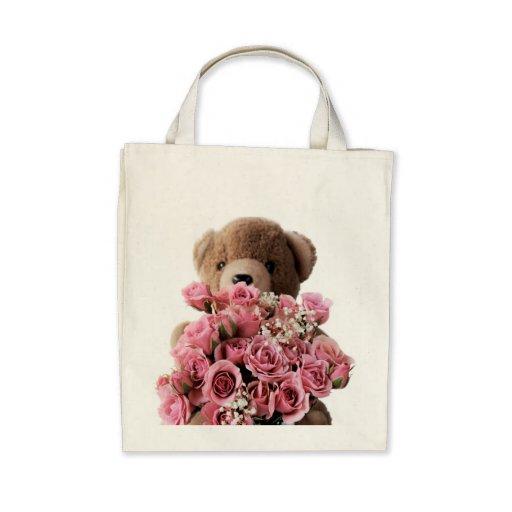 bear roses organic grocery tote bag