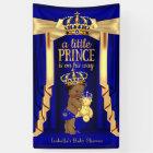 Bear Royal Blue Silk Gold Crown Baby Shower Ethnic Banner