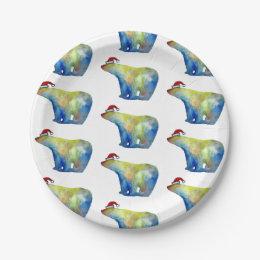 Bear Santa Chritsmas Custom Paper Plates 7 in  sc 1 st  Zazzle CA & Holiday Polar Bear Plates | Zazzle.ca