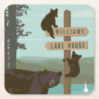 Bear Sign Post Square Paper Coaster