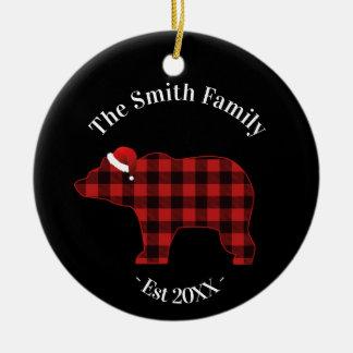 Bear Silhouette Buffalo Plaid Family Holiday Ceramic Ornament
