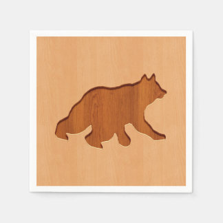 Bear silhouette engraved on wood design paper napkins
