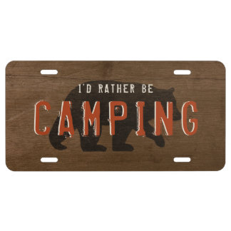 Bear Silhouette I'd Rather be Camping - Custom License Plate