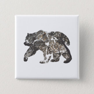 Bear Silhouette With Trees, Wild Nature 2 Inch Square Button