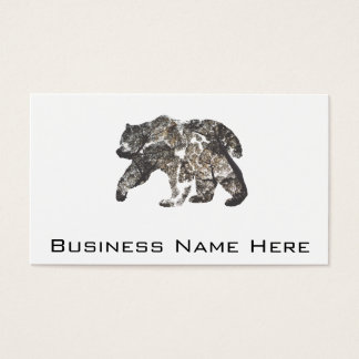 Bear Silhouette With Trees, Wild Nature Business Card