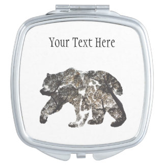 Bear Silhouette With Trees, Wild Nature Travel Mirror