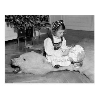 Bear Skin Rug, 1930s Postcard