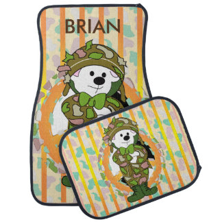 BEAR SOLDIER 2 Cartoon Car Mats Full Set (setof2)