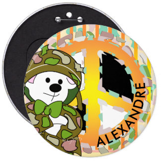 BEAR SOLDIER 2 CUTE CARTOON Colossal, 6 Inch 6 Inch Round Button