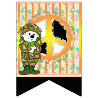 BEAR SOLDIER CARTOON BUNTING BANNER