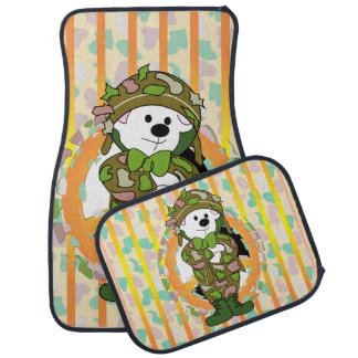 BEAR SOLDIER Cartoon Car Mats Full Set (setof2)