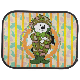 BEAR SOLDIER Cartoon Car Mats (Rear) (set of 2)