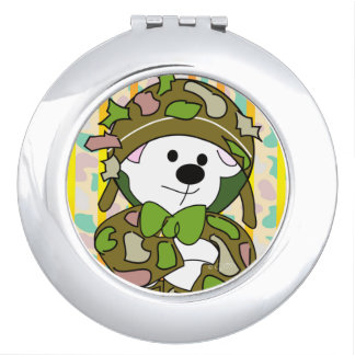 BEAR SOLDIER CARTOON compact mirror Round