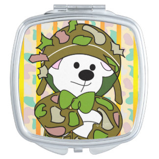 BEAR SOLDIER CARTOON compact mirror SQUARE
