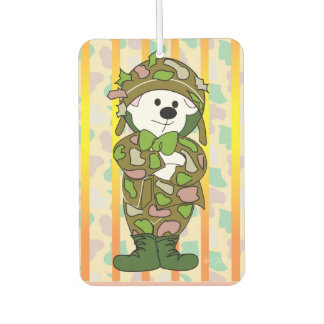 BEAR SOLDIER CARTOON Portrait Rectan Air Freshener