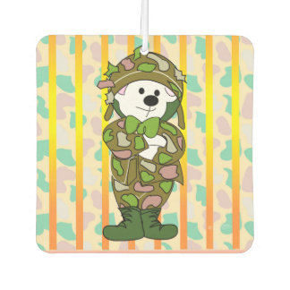 BEAR SOLDIER CARTOON Square Air Freshener