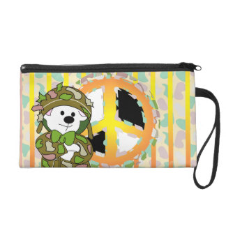 BEAR SOLDIER CARTOON Wristlet Cosmetic Bag