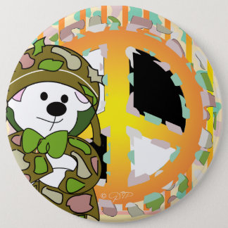 BEAR SOLDIER CUTE CARTOON Colossal, 6 Inch 6 Inch Round Button