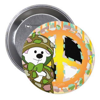 BEAR SOLDIER CUTE CARTOON Large, 3 Inch 3 Inch Round Button