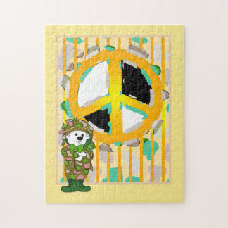 BEAR SOLDIER CUTE CARTOON PUZZLE 11 X 14