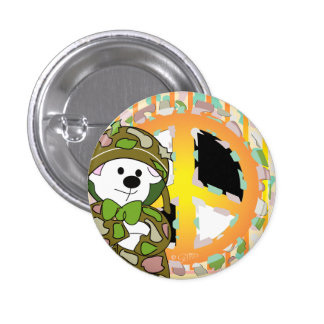 BEAR SOLDIER CUTE CARTOON Small, 1¼ Inch 1 Inch Round Button