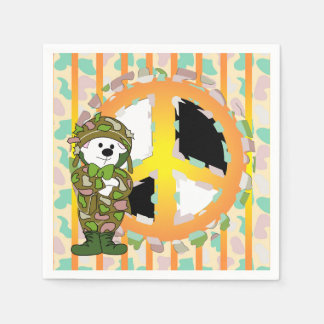 BEAR SOLDIER PEACE 2 CARTOON  Standard Cocktail Paper Napkins