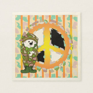 BEAR SOLDIER PEACE 3 CARTOON  Standard Cocktail Paper Napkin