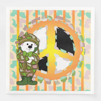 BEAR SOLDIER PEACE 3 CARTOON  Standard Dinner Disposable Napkins