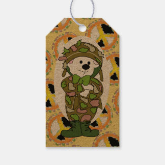 BEAR SOLDIER PEACE SIGN CARTOON GIFT TAG KRAFT PACK OF GIFT TAGS