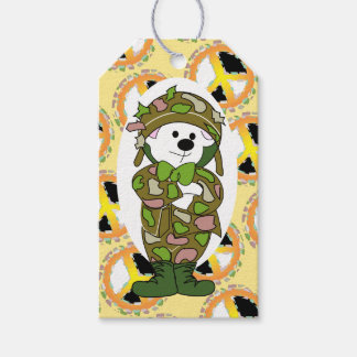 BEAR SOLDIER PEACE SIGN CARTOON GIFT TAG PACK OF GIFT TAGS