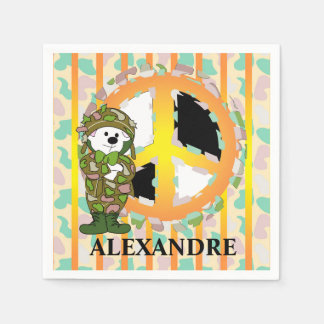 BEAR SOLDIER PEACE SIGN CARTOON  Standard Cocktail Paper Napkins