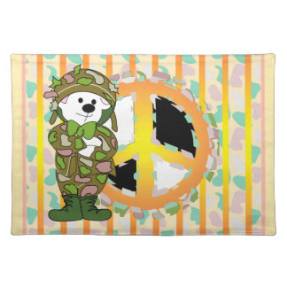 BEAR SOLDIER PEACE SIGN PLACEMAT CLOTH