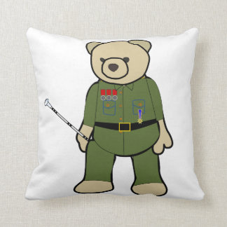 Bear Soldier Throw Pillow