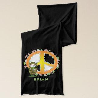 BEAR SOLLDIER CARTOON Jersey Scarf BLACK 2