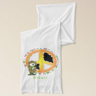 BEAR SOLLDIER CARTOON Jersey Scarf WHITE 2