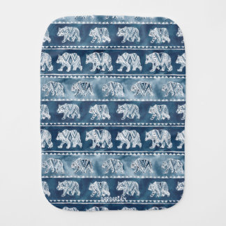 BEAR SPIRIT Navy Boho Tribal Pattern Burp Cloth