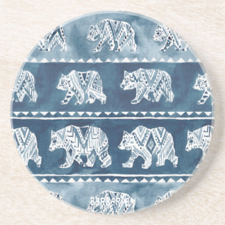 BEAR SPIRIT Navy Boho Tribal Pattern Coaster