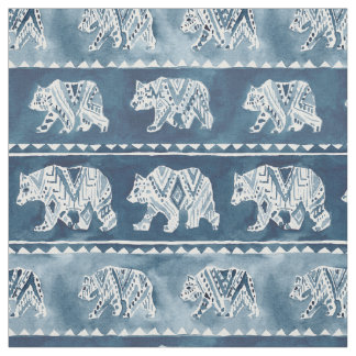 BEAR SPIRIT Navy Boho Tribal Pattern Fabric