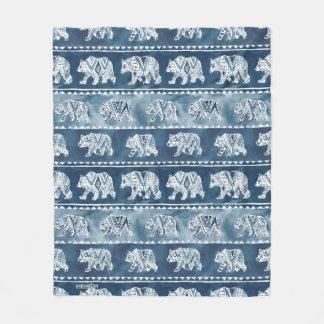 BEAR SPIRIT Navy Boho Tribal Pattern Fleece Blanket
