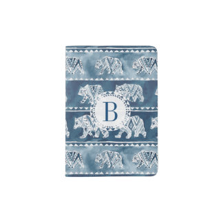 BEAR SPIRIT Navy Boho Tribal Pattern Passport Holder