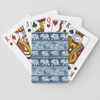 BEAR SPIRIT Navy Boho Tribal Pattern Playing Cards