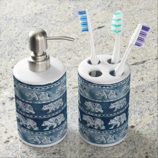 BEAR SPIRIT Navy Boho Tribal Pattern Soap Dispenser And Toothbrush Holder
