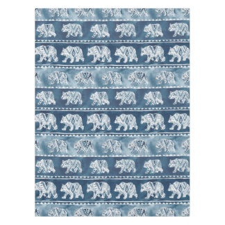 BEAR SPIRIT Navy Boho Tribal Pattern Tablecloth