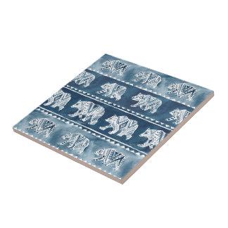 BEAR SPIRIT Navy Boho Tribal Pattern Tile
