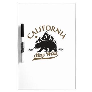bear stay wild california dry erase board