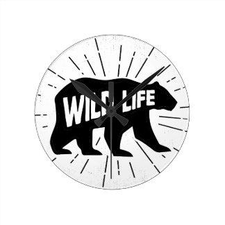 Bear - Stay wild Round Clock