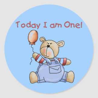Bear Today I am One Tshirts and Gifts Classic Round Sticker